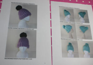 BARGAIN-2-X-PRINTED-KNITTING-PATTERN-INSTRUCTIONS-SUPERCHUNKY-BOBBLE-BEANIE-HATS