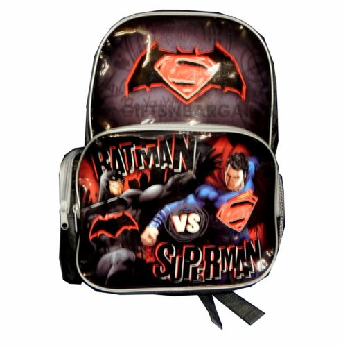Batman vs Superman Backpack Kids Boys School Library Lunch Bag Travel Luggage
