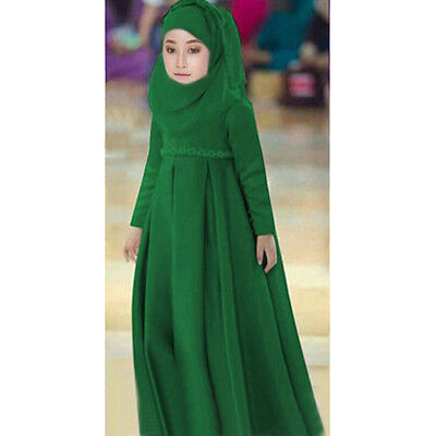 3Pcs Set Kids Girl Abaya Muslim Kaftan Islamic Scarf Child Hijab Arab Maxi Dress
