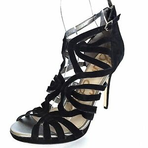 1e468abb5137 Sam Edelman EVE Women s Strappy Dress Sandals Heels Black Suede Size ...