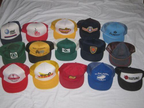 15 Vintage Trucker Hats Caps Mixed Lot Snapback