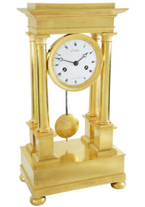 PENDULE-PORTIQUE-Kaminuhr-Empire-clock-bronze-horloge-antique-uhren-cartel