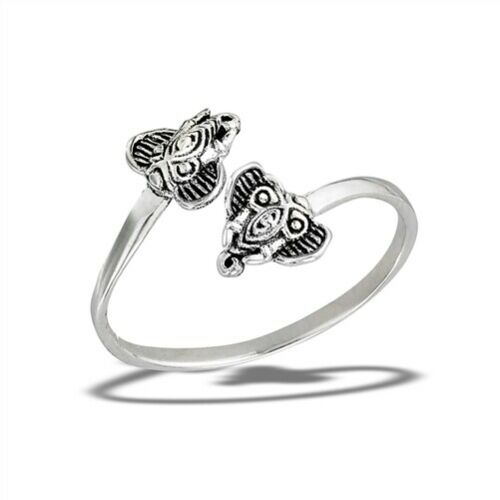 Ganesha Elephant Heads 925 Sterling Silver Ring Size 7