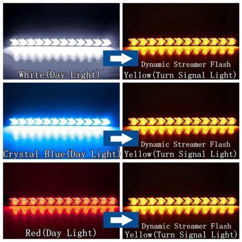 12 LED White//Amber Switchback Flexible Flow Turn Signal Arrow Flasher DRL Light