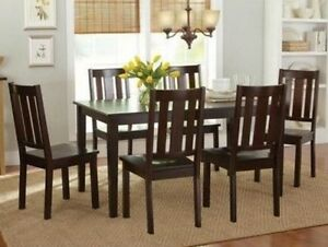 7 Pc Mocha Dining Room Set Wood Kitchen Furniture Table 6 Chairs Dinett