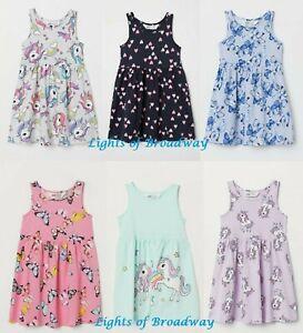 e207f00f5 H & M Girls Kids Unicorn Butterfly Summer Dress Jersey Beach Holiday ...
