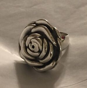 ROSE FLOWER STERLING 925 SILVER ELECTROFORM RING Sz 8
