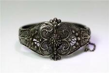 "Beautiful Antique Persian Sterling Silver Filigree Bangle Bracelet 7"" – 8525"