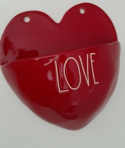 New-Rae-Dunn-Wall-Planter-Red-Love-Heart-Decor-Hanging-Vase-Pocket-by-Magenta