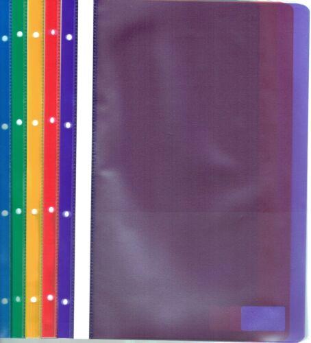 A4 Schnellhefter Kunststoff PP 5-farbig 4-fach Lochung transparent reißfest