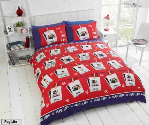 Cute Pooch Bulldog Duvet Quilt Cover Bedding Set /& Pillowcases Pug Puppy Dog
