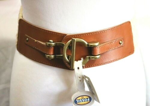 Women/'s Fossil Macrame Belt Size Small Leather Stretch Toggle Closure NWT $40