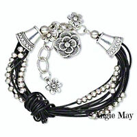 Multi-strand Leather Bracelet With Antiqued Silver Pewter Charms