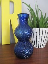 Mid century unusual cobalt blue glass bobbled italian empoli vase 60s mcm