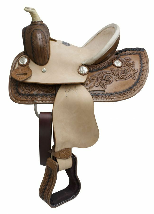 Double T 10  Youth ROPER SADDLE Hard Seat SQHB Braided Horn Rough Out Fenders