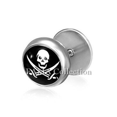 FAMA 8mm Dome Dumbbell Black IP Stainless Steel Faux Fake Ear Plugs