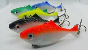 Lot 10 Soft Silicone Fishing Lures Bass CrankBait Crank Bait Tackle 7.5cm//2.2g