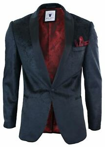 Men-Marc-Darcy-Velvet-Paisley-Black-Fit-Blazer-Tuxedo-Dinner-Jacket-Smart-Casual
