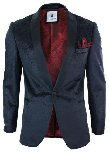 Men Marc Darcy Velvet Paisley Black Fit Blazer Tuxedo Dinner Jacket Smart Casual