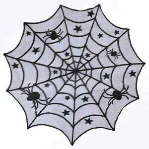 Black-Lace-Spiderweb-Table-Cloth-Round-Table-Topper-Window-Hanging-Halloween-Dec