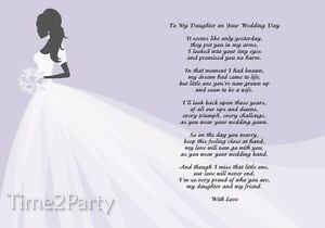 A4 Poem To My Daughter on Her Wedding Day - Mother / Father to ...
