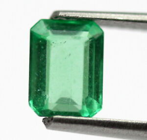 Rare Eye Clean Natural Emerald 6x4 mm Octagon Faceted Cut Certified Gem 0.75 Ct