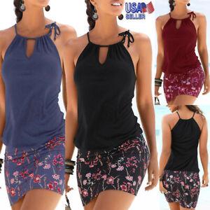 US-Women-Summer-Casual-Beach-Halter-Sleeveless-Dress-Boho-Floral-Print-Sundress