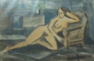 Christian-Roos-Wilhelmshaven-Akt-Erotica-Aquarell-signiert-O-1259