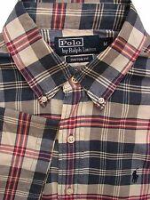 RALPH LAUREN POLO Shirt Mens 15.5 M Blue - Multi Check CUSTOM FIT SHORT SLEEVE
