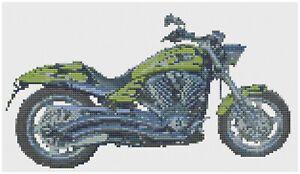 Blue Chopper Motorbike CrossStitch Kit by Florashell