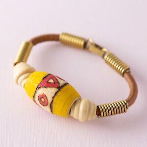 Wood-Leather-Hand-Painted-Wood-Burned-Beaded-Tribal-Yellow-Brown-Boho-Bracelet
