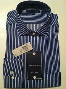 28fd3891264 NWT Mens Tommy Hilfiger Navy White Easy Care Bold Stripe Dress Shirt ...