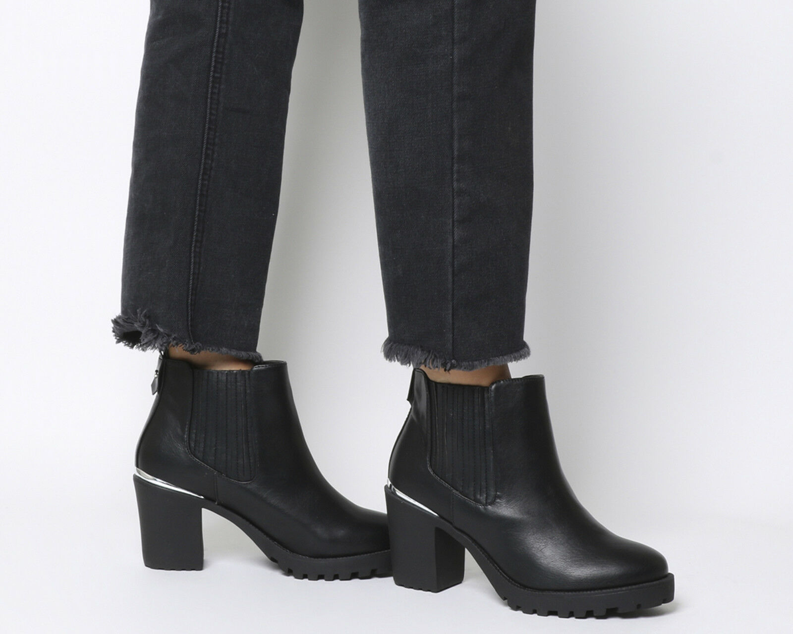 Womens Office Agile Chunky Chelsea Boots Black With Metal Heel Clip