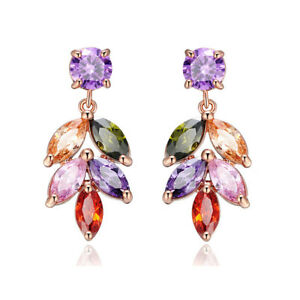 Leave-Shape-Charm-Mix-Color-Morganite-Topaz-Gems-Rose-Gold-Women-Stud-Earrings