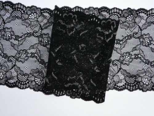 "5 METRES Black and Silver Delicate Stretch Lace Trim 6/""//16.5cm Sewing TOP SELLER"