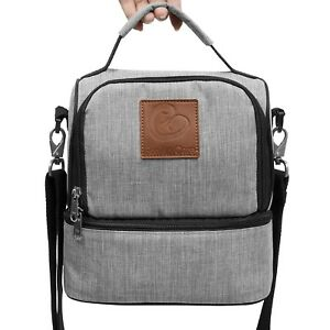 Insulated Lunch Bag Dual Compartment Cooler Lunch Box Tote School Picnic Work