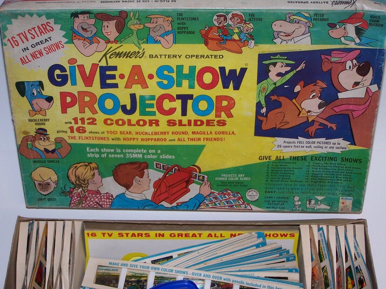 Give A Show Projector & Slides w Box Flintstones 39 Slides different Cartoons
