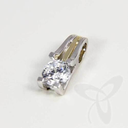 333 gelb weiß Gold Anhänger oder Ohrringe Solitär Diamant /& Cubic Zirkonia NEU