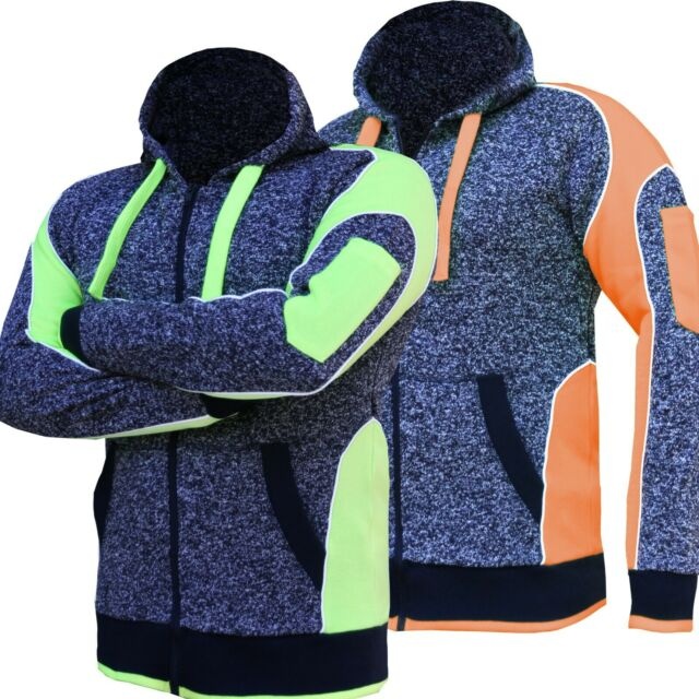 Hi Vis Fleece Jacket Full Zip Hoodie Jumper Panel with Piping Body Dark Marble