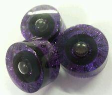 3 Guitar speed volume / tone knobs. Black / Purple. JAT CUSTOM GUITAR PARTS