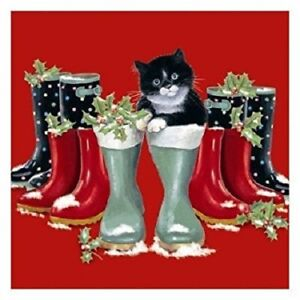 Puss-in-Boots-Black-amp-White-Kitten-Cat-10-pack-small-square-Christmas-cards