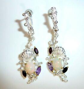 Earrings 925 Silver Welo Full Opal +Amethyst +Garnet - New 48 MM Long