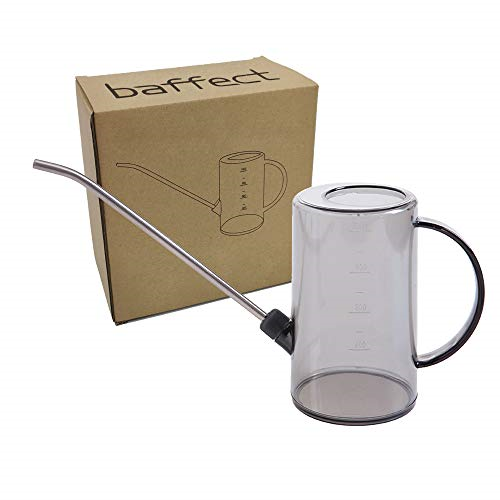 Baffect 1 Litre Watering Can,Clear Cylindrical Watering Can with Stainless Steel