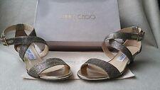 New Jimmy Choo Chiara 36 6 Bronze Gold Cross Strappy Demi Wedge Sandal heel Shoe