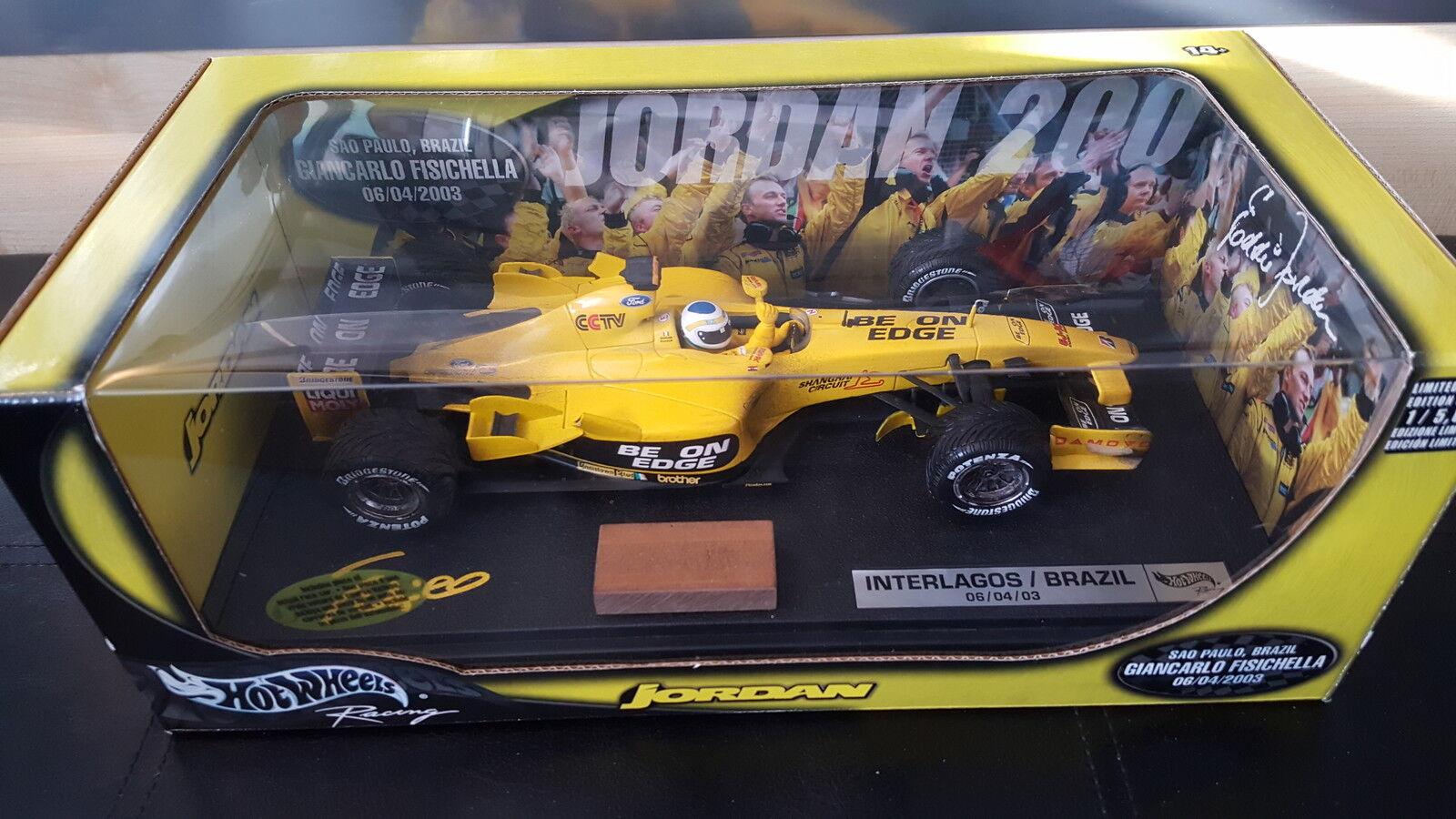 Giancarlo Fisichella Hotwheels Jordan EJ13 Brazil 2003 Win 1 18 Die Cast Model.