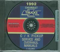 1992 Chevrolet C/k Pickup Factory Shop & Overhaul Manual On Cd