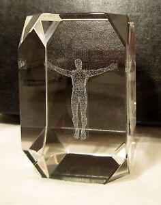 Crucifix Jesus On Cross 3d Hologram Laser Etched Crystal