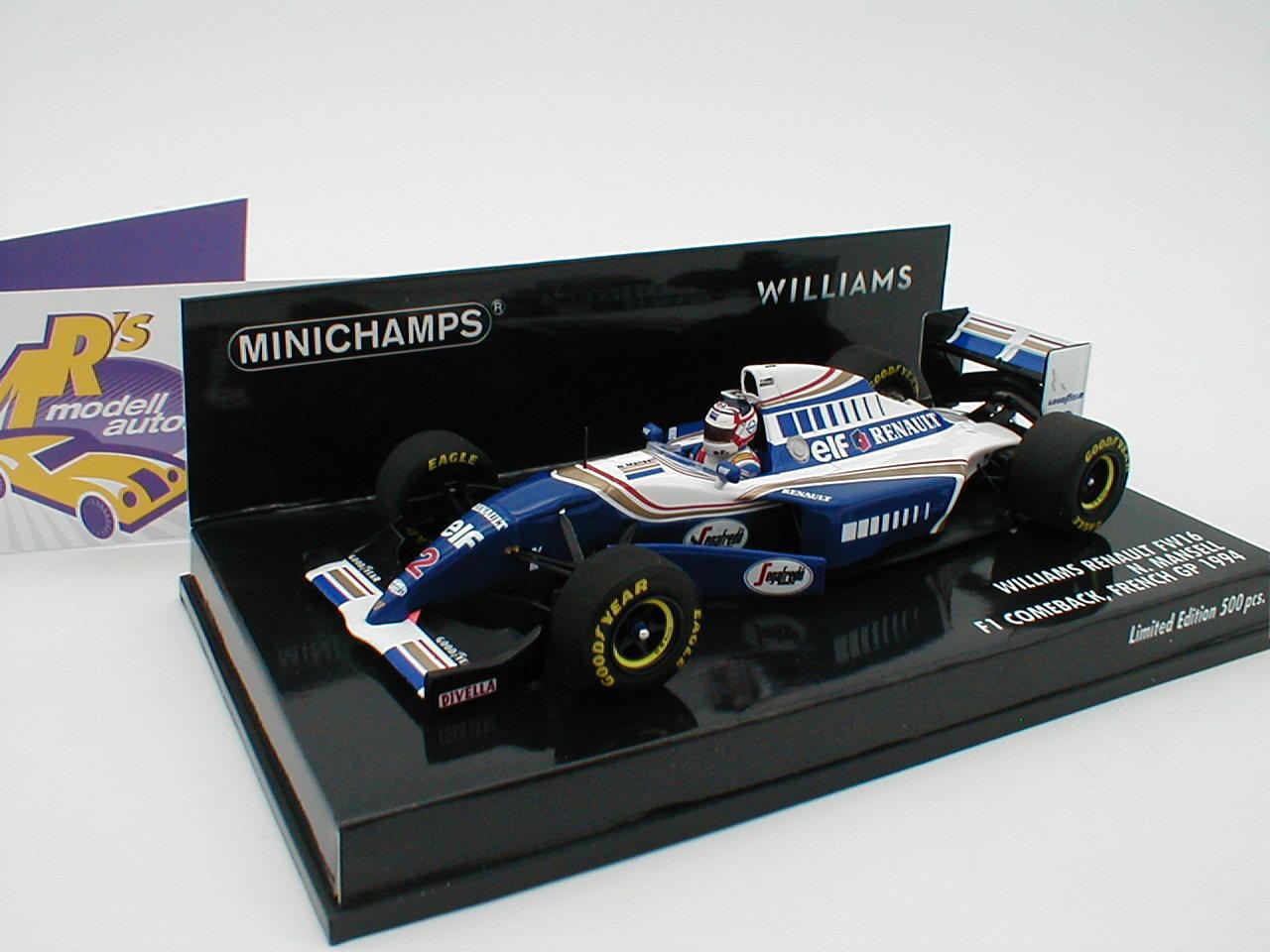 Te  er un voeu MINICHAMPS 417940702-WILLIAMS RENAULT fw16 Nigel Femmesell French GP 1994 1:43   Matériaux Sélectionnés Avec Soin