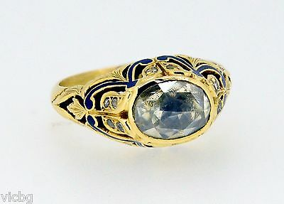 ANTIQUE EDWARDIAN GEORGIAN STERLING SILVER ROSE CUT DIAMOND ENAMEL RING