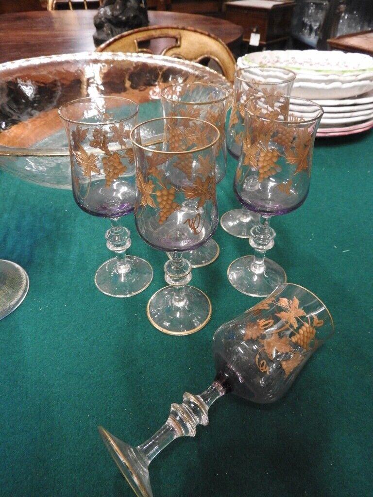 Précieux Set verres calice verres fin violet décor en or Art Planche De Surf Oldtimer